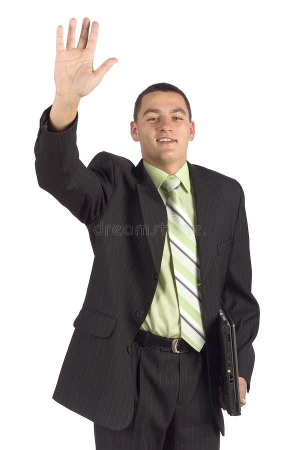 Hombre de negocios con el cuaderno - mano para arriba imagenes de archivo