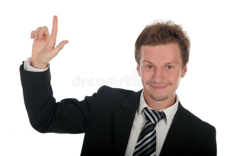Hombre de negocios con el dedo que destaca fotos de archivo libres de regalías