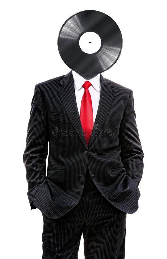 Hombre de negocios con el disco del vinilo stock de ilustración