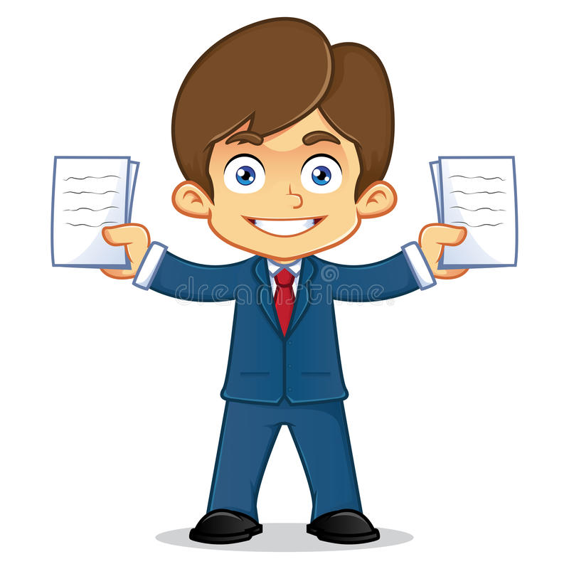 Hombre de negocios con el documento stock de ilustración