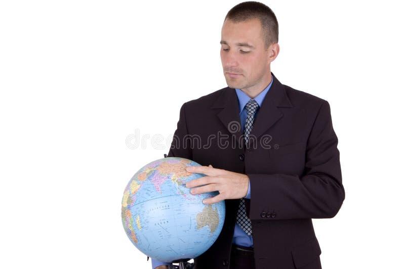 Hombre de negocios con el globo fotos de archivo
