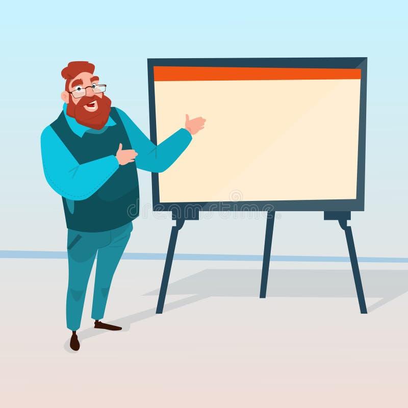 Hombre de negocios con el gráfico financiero de la presentación de la reunión de reflexión de Flip Chart Seminar Training Confere stock de ilustración