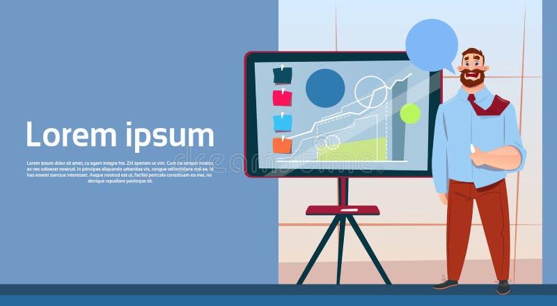 Hombre de negocios con el gráfico financiero de la presentación de la reunión de reflexión de Flip Chart Seminar Training Confere ilustración del vector