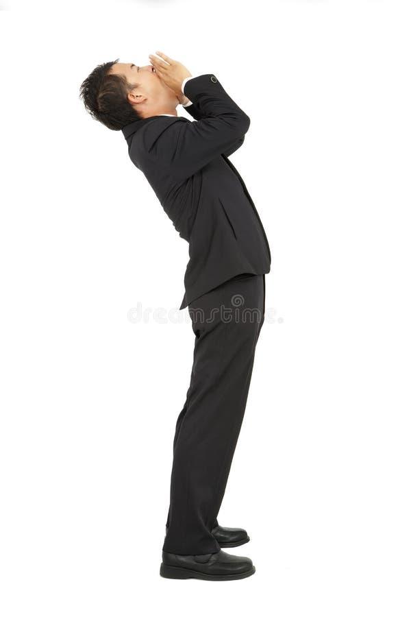 Hombre de negocios con el grito foto de archivo libre de regalías