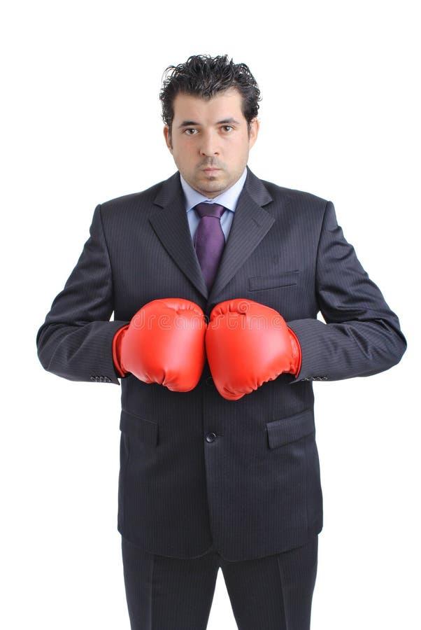 Hombre de negocios con el guante de boxeo imágenes de archivo libres de regalías