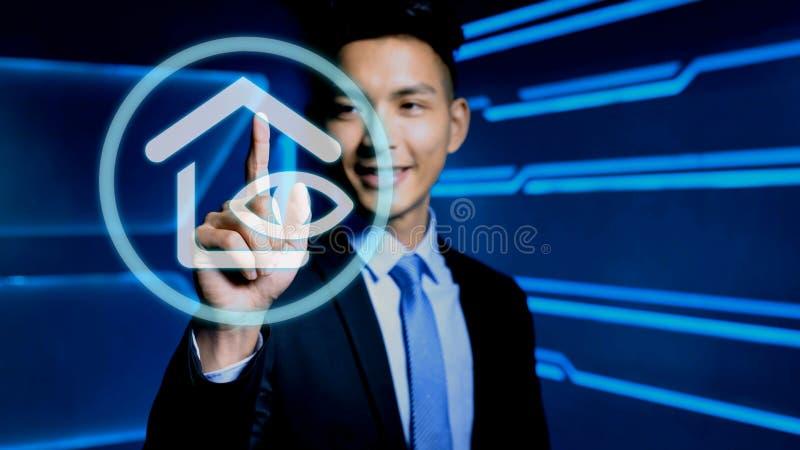 Hombre de negocios con el icono imágenes de archivo libres de regalías