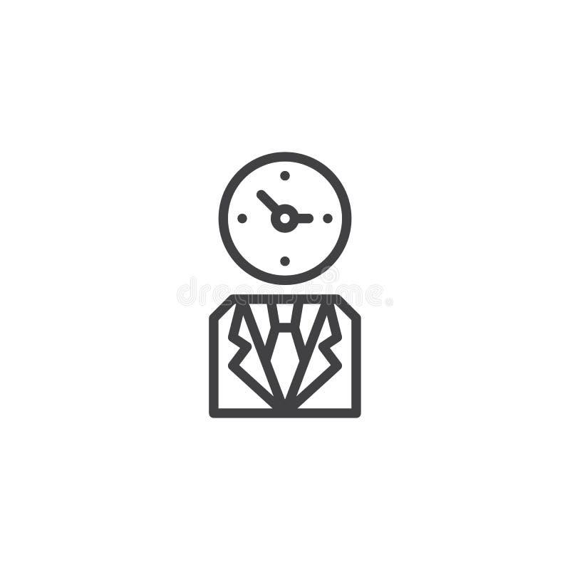 Hombre de negocios con el icono del esquema de la cabeza del reloj ilustración del vector