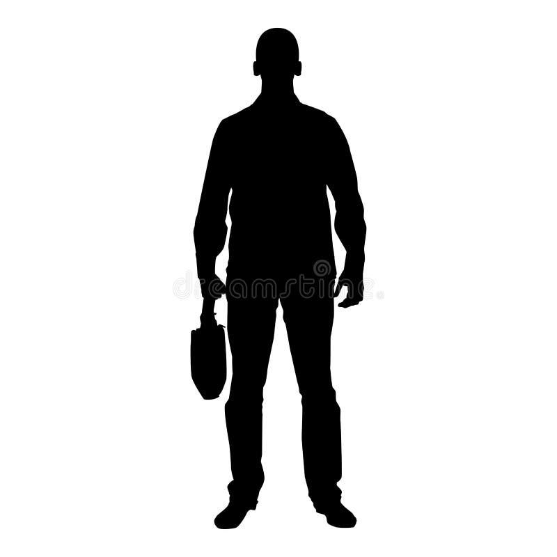 Hombre de negocios con el hombre de la cartera con un bolso del negocio en su ejemplo de color del negro del icono de la vista de libre illustration
