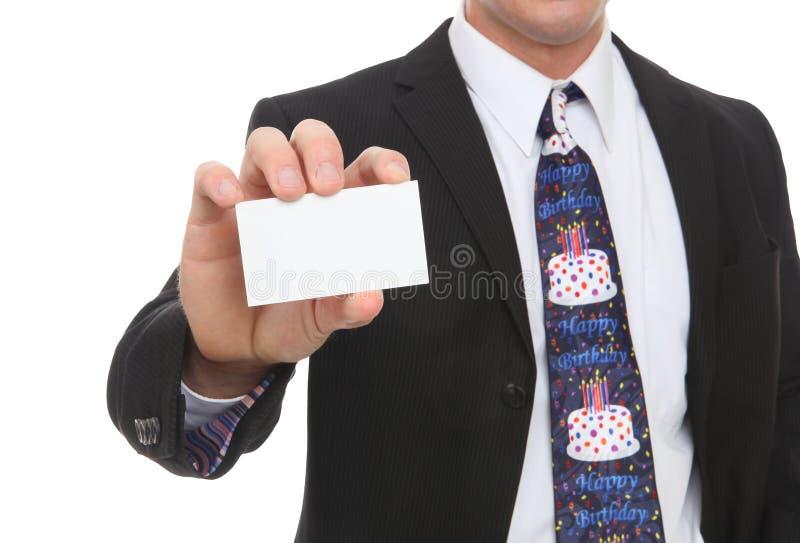 Hombre de negocios con el lazo del feliz cumpleaños fotos de archivo libres de regalías