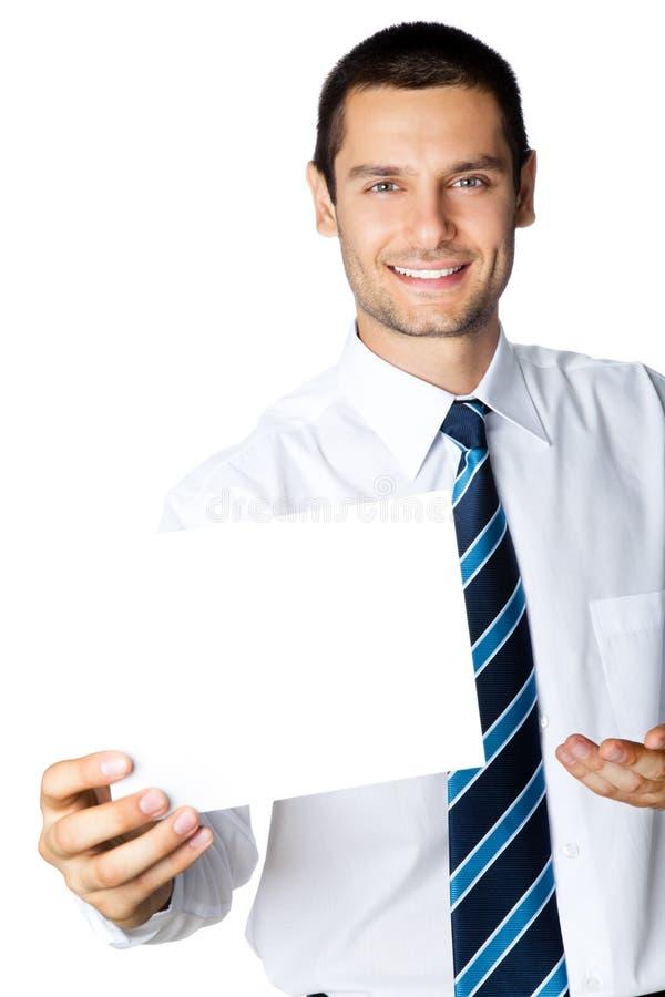 Hombre de negocios con el letrero fotos de archivo libres de regalías