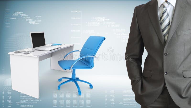 Hombre de negocios con el lugar de trabajo de oficina ilustración del vector