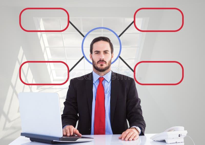 Hombre de negocios con el mapa de mente imagen de archivo