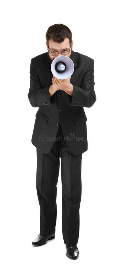 Hombre de negocios con el megáfono imagenes de archivo