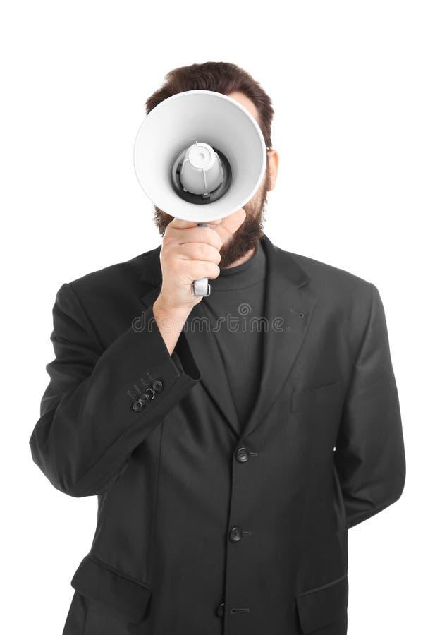 Hombre de negocios con el megáfono foto de archivo libre de regalías