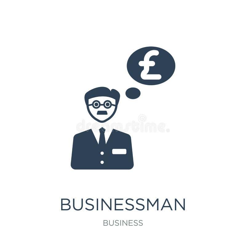 hombre de negocios con el mensaje de las libras en un icono de la burbuja del discurso en estilo de moda del diseño hombre de neg libre illustration