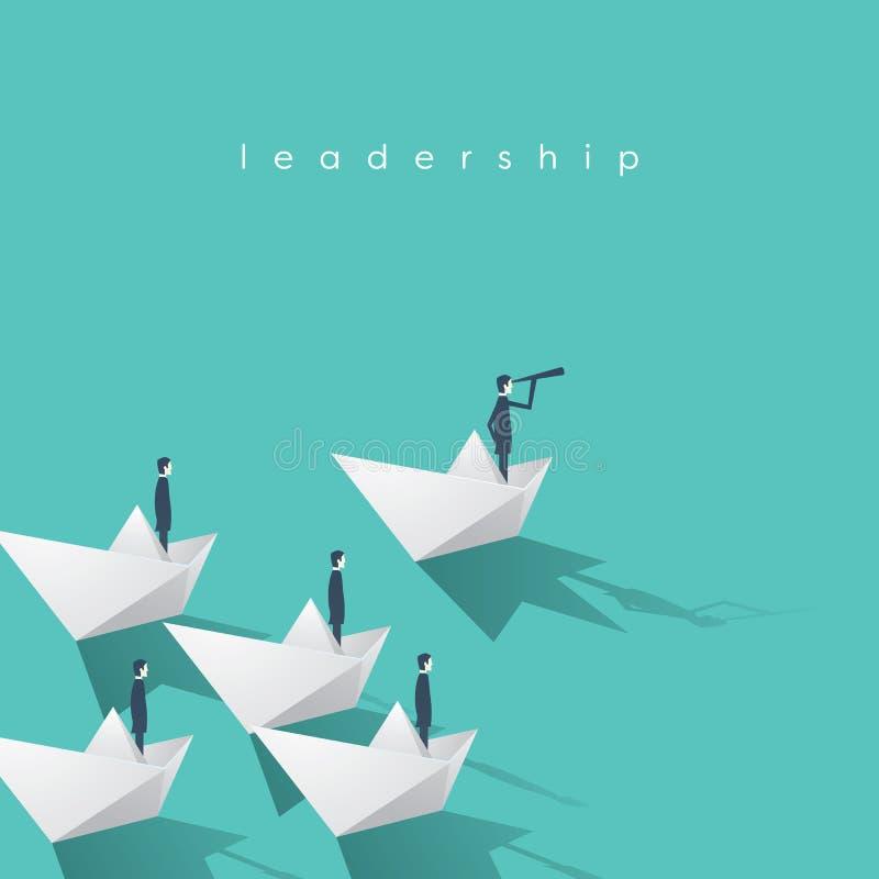 Hombre de negocios con el monóculo en el barco de papel como símbolo de la dirección del negocio Equipo principal visionario, con ilustración del vector