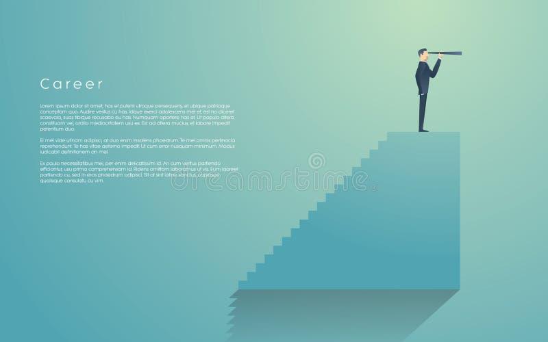 Hombre de negocios con el monóculo encima de las escaleras como símbolo de la visión del negocio, dirección Hombre de negocios en ilustración del vector