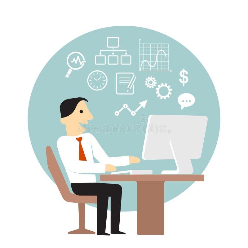 Hombre de negocios con el ordenador que hace análisis de negocio stock de ilustración