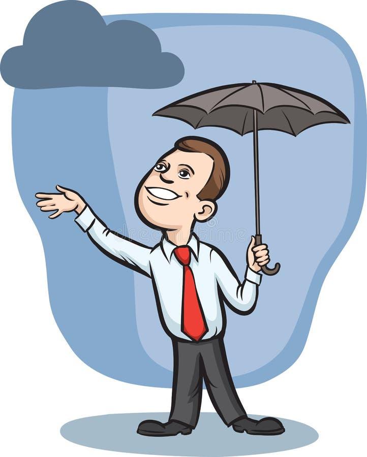 Hombre de negocios con el paraguas que controla para saber si hay lluvia stock de ilustración