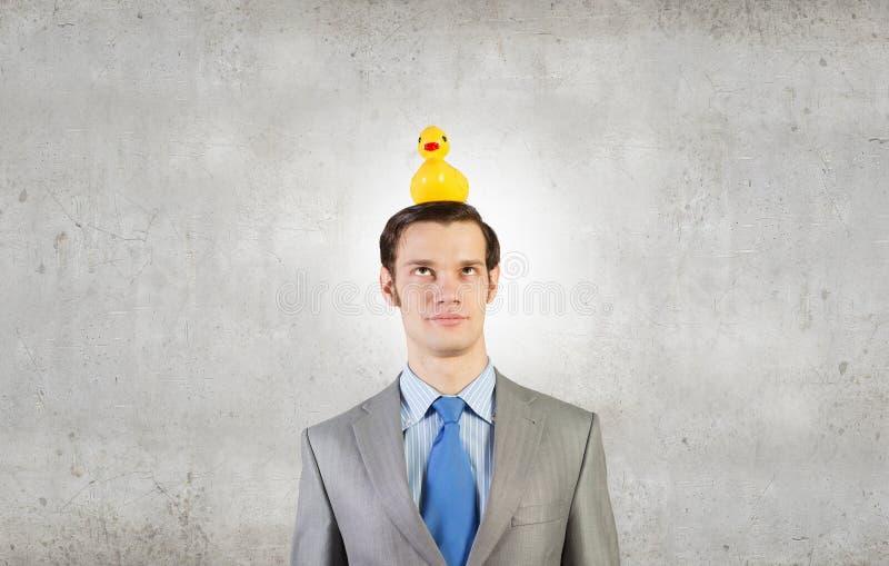 Hombre de negocios con el pato fotos de archivo libres de regalías