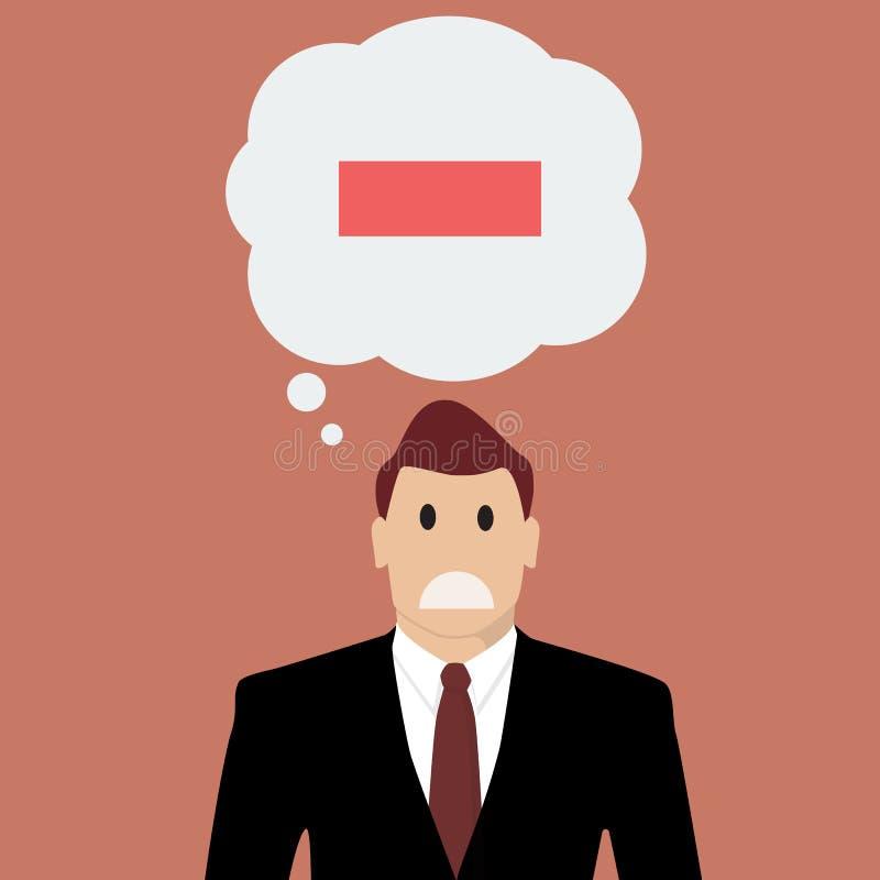 Hombre de negocios con el pensamiento negativo stock de ilustración
