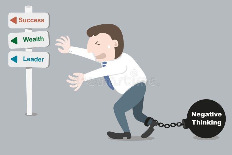 Hombre de negocios con el pensamiento negativo del trasmallo libre illustration