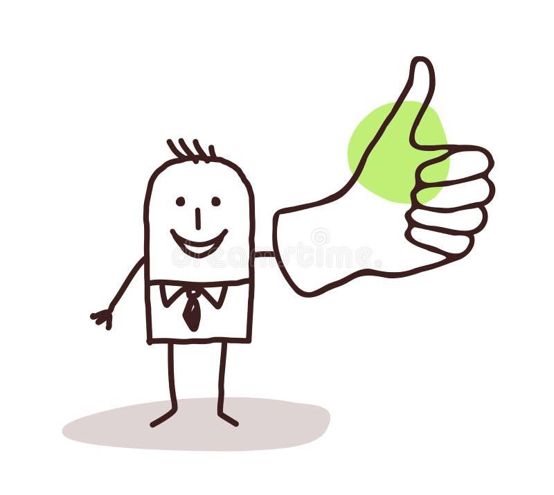 Hombre de negocios con el pulgar para arriba ilustración del vector