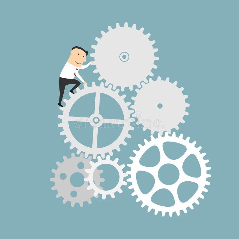Hombre de negocios con el sistema del engranaje de mecanismo del negocio libre illustration