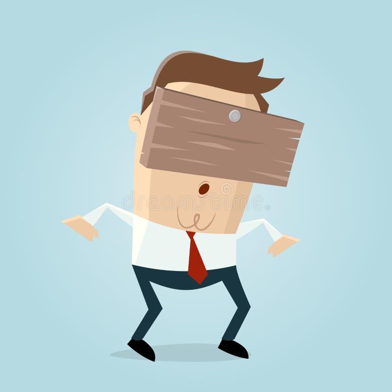 Hombre de negocios con el tablón en su cabeza ilustración del vector