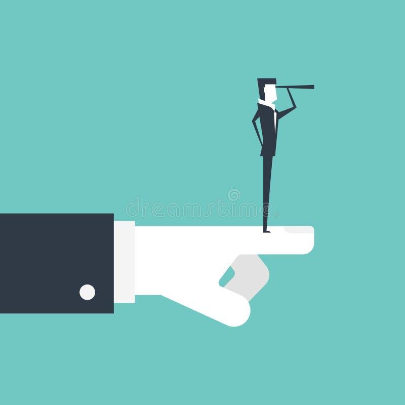 Hombre de negocios con el telescopio que busca para las oportunidades y la mano de Boss que señala la mejor dirección libre illustration