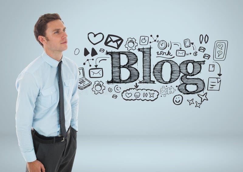 Hombre de negocios con el texto del blog y los dibujos gráficos ilustración del vector