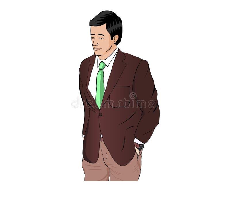 Hombre de negocios con el traje stock de ilustración