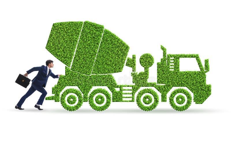 Hombre de negocios con el veh?culo ecol?gico verde stock de ilustración