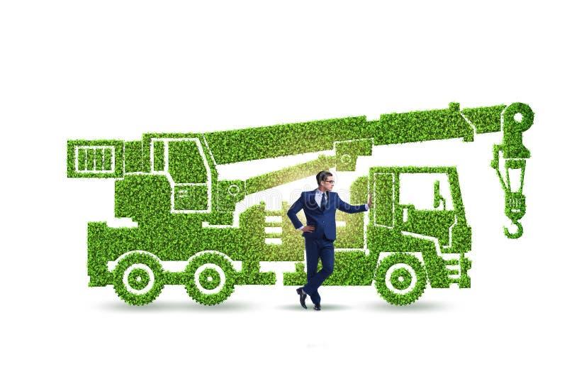 Hombre de negocios con el veh?culo ecol?gico verde libre illustration