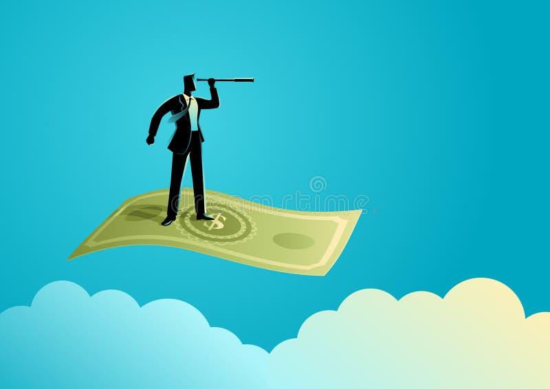 Hombre de negocios con el vuelo del telescopio en billete de banco libre illustration