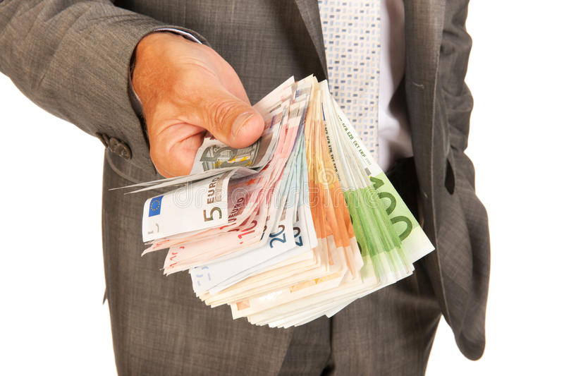 Hombre de negocios con euros fotos de archivo