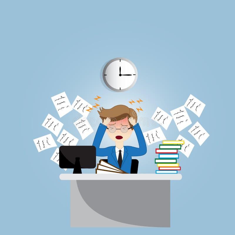 Hombre de negocios con exceso de trabajo ilustración del vector