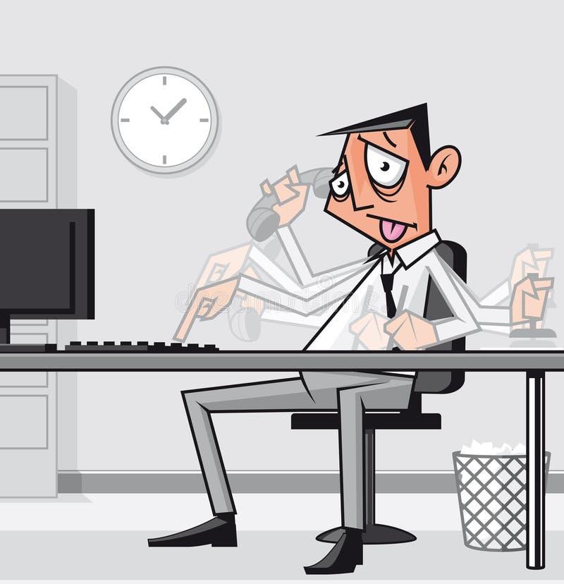 Hombre de negocios con exceso de trabajo tensionado ilustración del vector