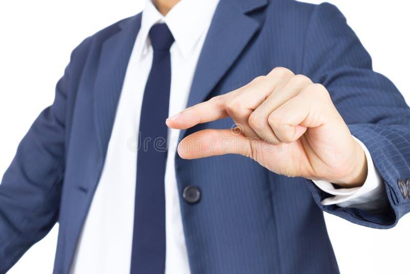 Hombre de negocios con gesto de mano del pellizco aislado en el fondo blanco imagen de archivo libre de regalías