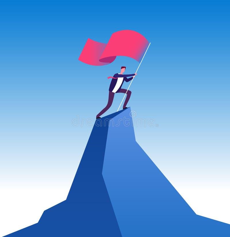 hombre de negocios con la bandera en pico de montaña Hombre que sube para arriba con la bandera roja Logro de la meta, dirección  ilustración del vector