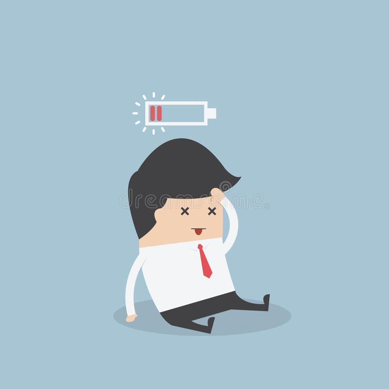 Hombre de negocios con la batería inferior libre illustration
