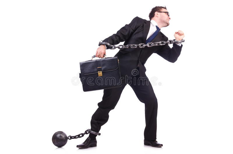 Hombre de negocios con la cadena aislada imágenes de archivo libres de regalías