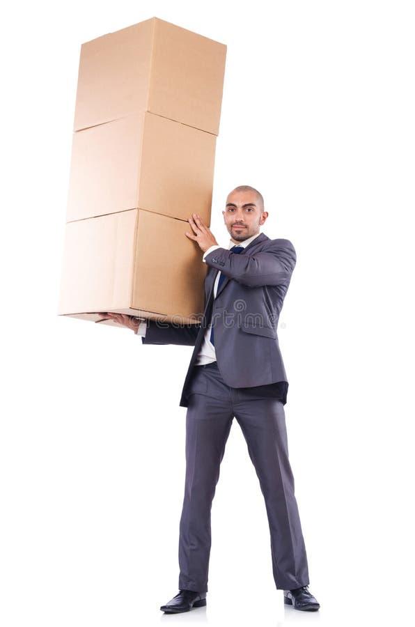 Hombre De Negocios Con La Caja Foto de archivo