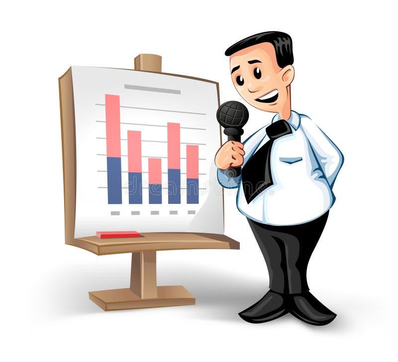 Hombre de negocios con la carta ilustración del vector