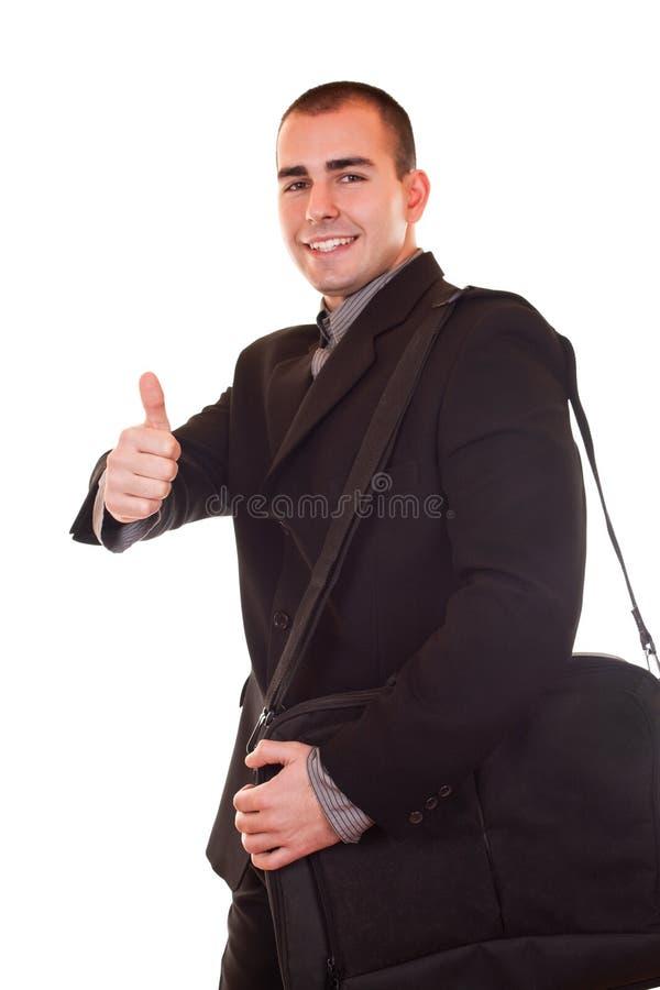Hombre de negocios con la cartera imagenes de archivo