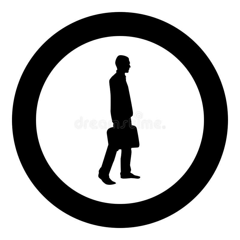 Hombre de negocios con de la cartera del paso el hombre adelante con un bolso del negocio en su ejemplo de color del negro del ic stock de ilustración