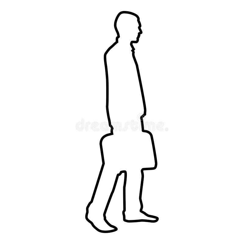Hombre de negocios con de la cartera del paso el hombre adelante con un bolso del negocio en su esquema del ejemplo de color del  libre illustration