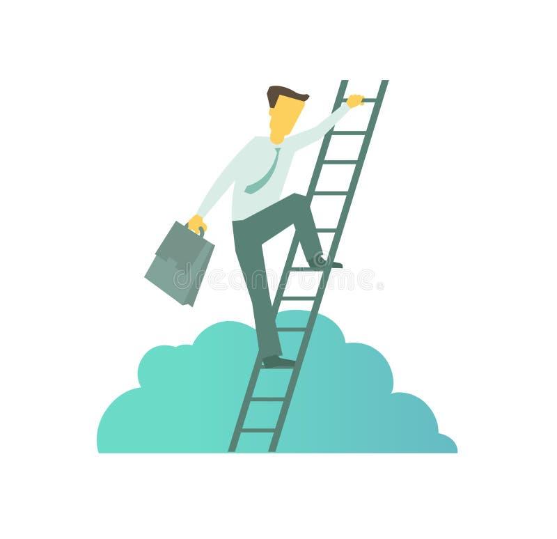 Hombre de negocios con la cartera que sube una escalera al éxito Sube el movimiento ascendente de la metáfora del negocio de las  ilustración del vector