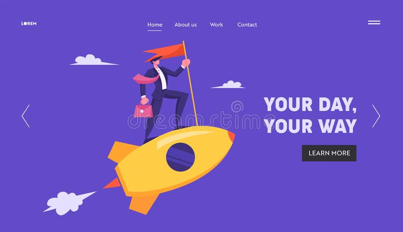 Hombre de negocios con la cartera y el oro que monta Rocket de la bandera roja en cielo Dirección del negocio, lanzamiento de lan libre illustration