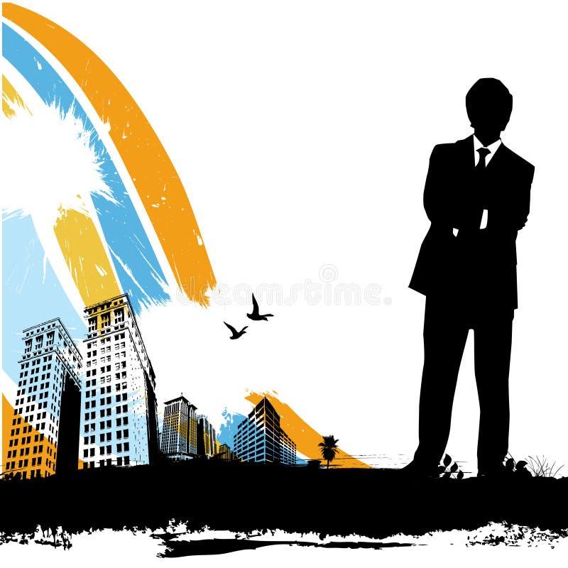 Hombre de negocios con la ciudad urbana libre illustration